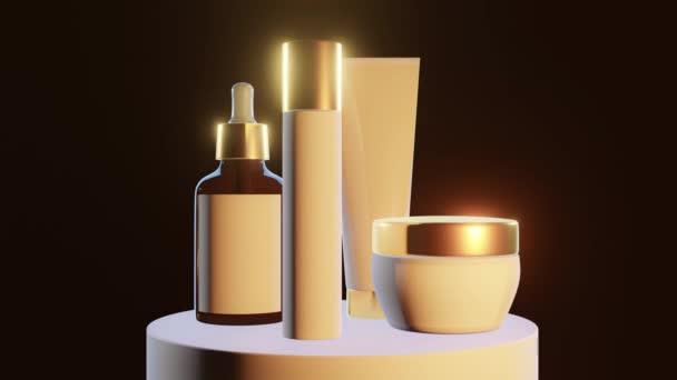 kozmetikai edények arany elem játék a fény egy talapzat fekete háttér, közelkép,