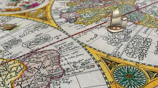 Sailing ship crosses equator on the ancient world map background