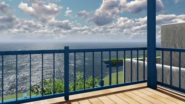 Balkon pohled timelapse mračna nad Středozemním mořem