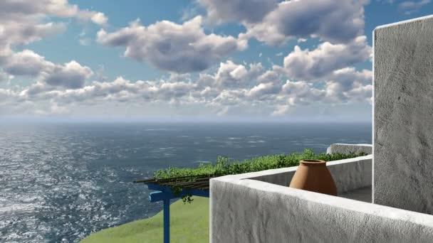 Balkón s výhledem na Egejské moře