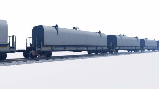 Vorbeifahrender Güterzug auf weißem Hintergrund loopable Animation
