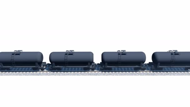 Petroleum tank wagons on white background loopable 3D animation
