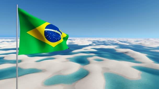 Brazílie vlajky na bílém písku pouště pozadí 4k animaci