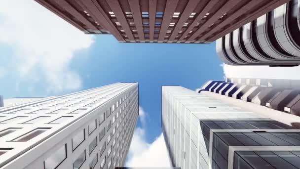 Mrakodrapy z pohled zdola na pozadí modré oblohy