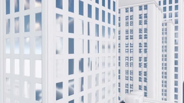 Abstract white high rise building Tilt up shot