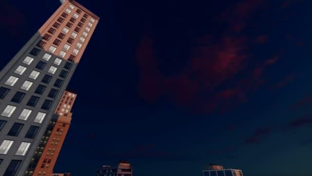 Abstraktní výškové úřad budovy noční pohled