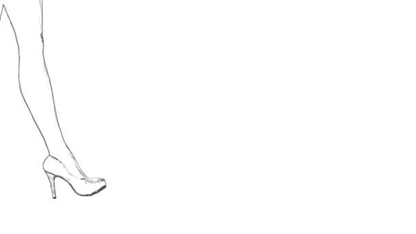 Ženské nohy ve vysoké podpatky obrys načrtnout na bílém pozadí