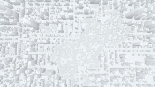 Abstract white big 3D city top view
