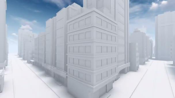Flight through abstract white city street 4K animation