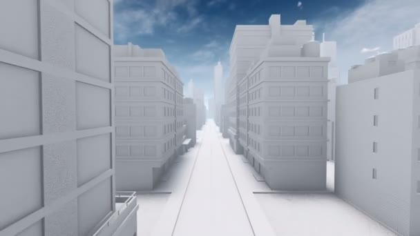 Abstract city downtown empty street 4K animation