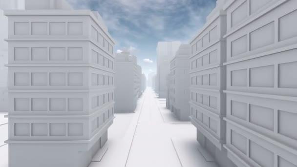 Abstract white city empty street 4K animation