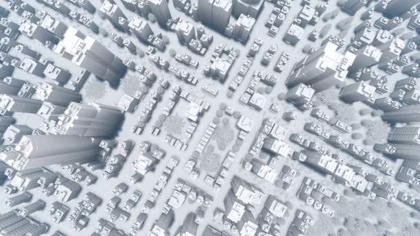 Abstract modern big city aerial view 4K