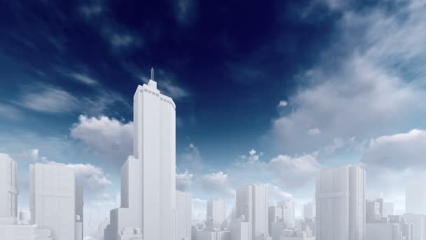 Abstract skyscrapers and time lapse sky clouds 4K