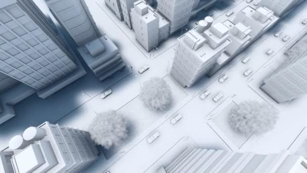 Modern city street traffic aerial view 4K animation