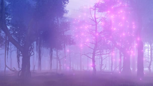 Fireflies in magical misty forest 4K fantasy animation