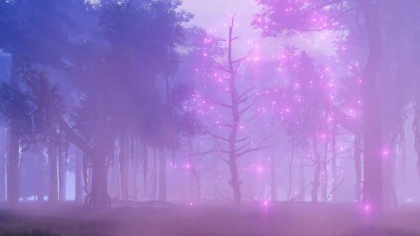 Ködös éjszaka erdő 4k fantasy animáció firefly égősor