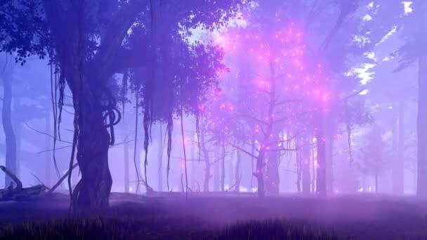 Kouzelný strom v mlhavé noci Les 4k fantasy animaci