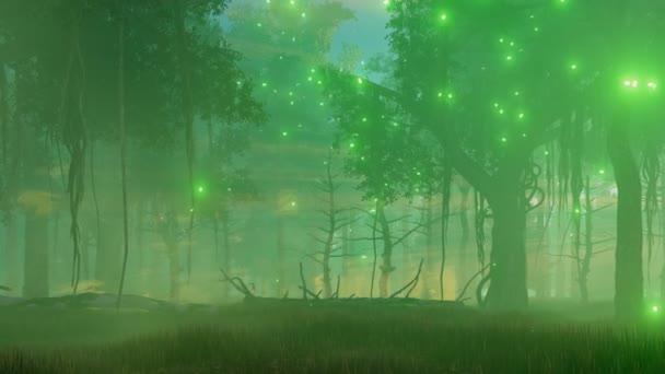 Mystische Lichter im gruseligen Nachtwald 4k Animation