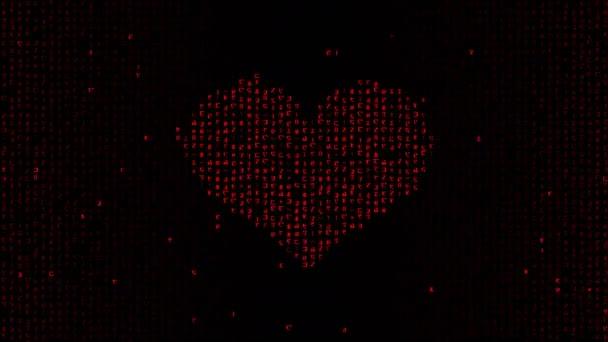 Leuchtend rote Herzform Symbol auf schwarzem Hintergrund bildet durch zufällige Matrix binären Code auf dem Computerbildschirm. Abstrakte animierte Liebe und Valentinstag zeitgenössisches Konzept in 4K