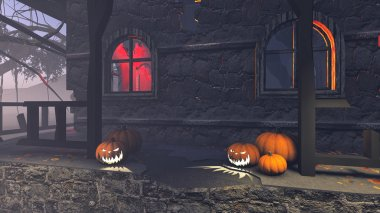 Halloween pumpkins on the porch of the gloomy house 1
