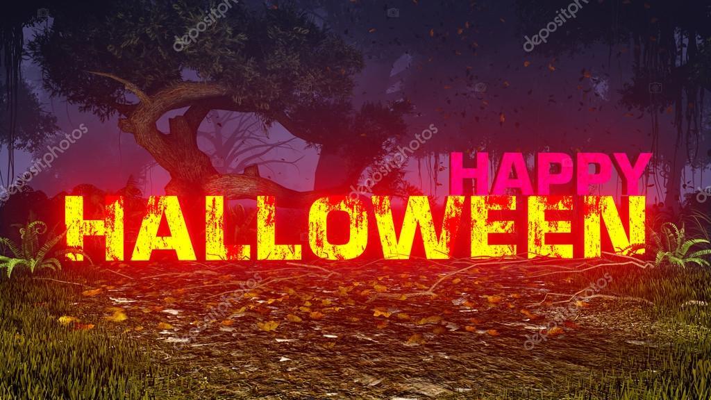 Фотообои Светящиеся счастливой текст Хэллоуина в темный лес 2