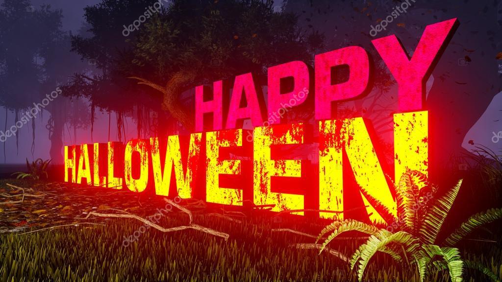 Фотообои Glowing Happy Halloween text in the dark forest 1