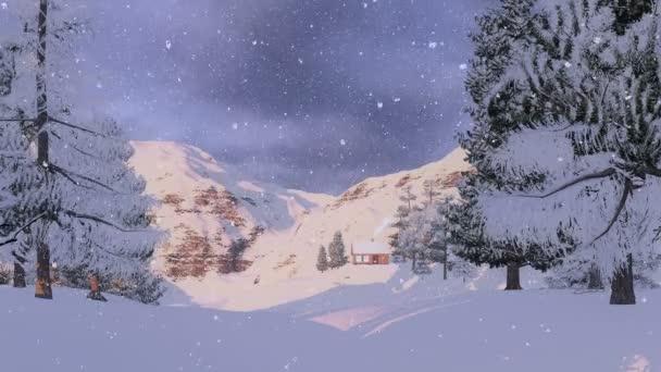 Dům v zasněžených horách při východu slunce