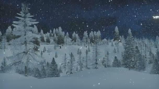 Animated Merry Christmas and Santas sleigh at snowfall