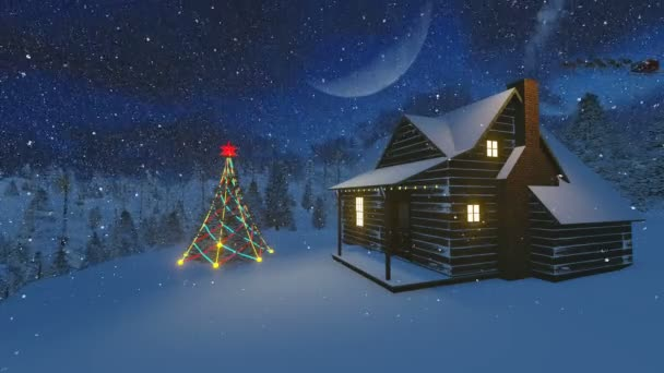 Cozy cabin and spruce in the mountains decorated for Christmas