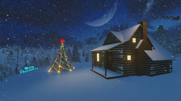 Animated Merry Christmas text in a night forest