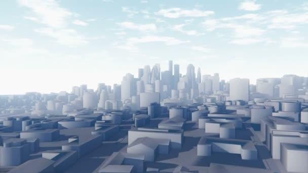 Flight through abstract white city