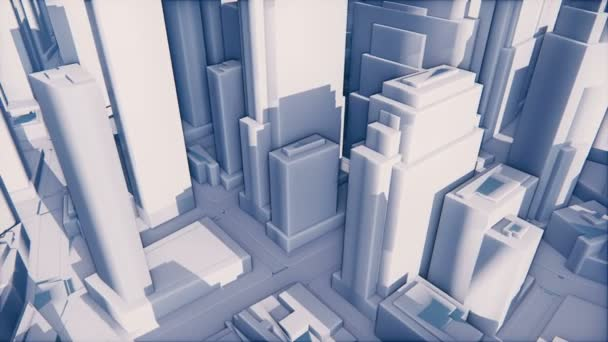 Abstract white 3D modern city with high rise buildings