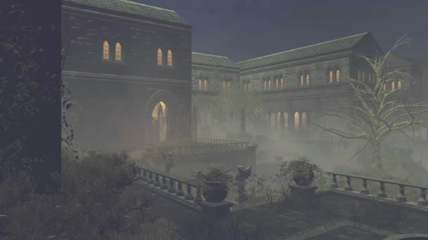 Opuštěné středověký zámek v noci