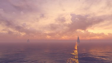 Yachts silhouettes at foggy sunrise