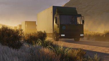 Military motorcade on a desert road 1