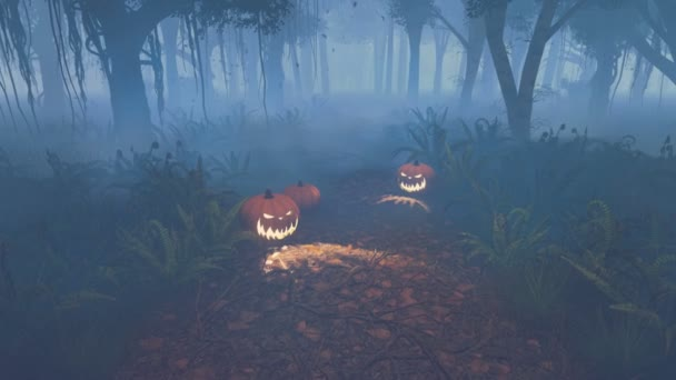 Halloween pumpkins on the forest trail