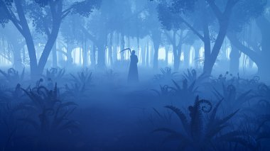 Misty night forest with grim reaper silhouette