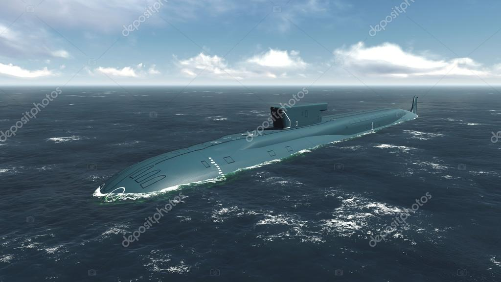 Floating russian nuclear submarine at sea