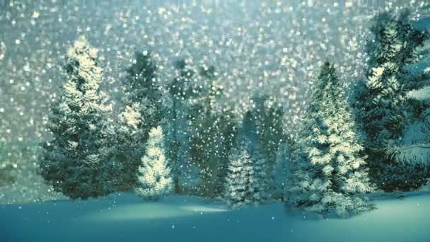 Snowy spruce forest at snowfall night