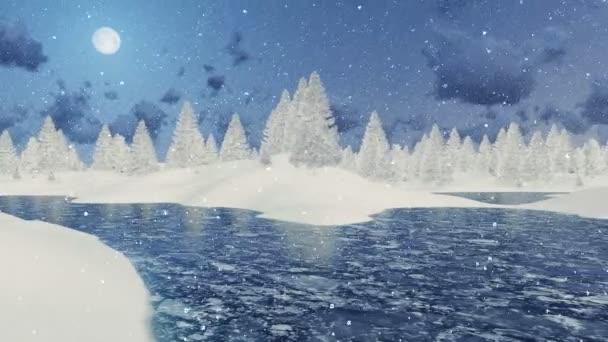 Zasněžené jedle a zamrzlé jezero v zimní noci