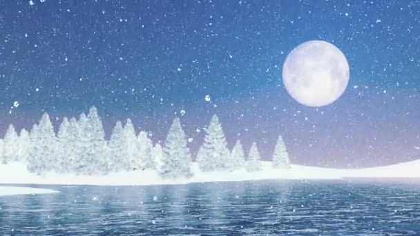 Snowy firs and frozen lake under big full moon