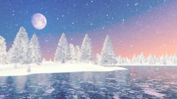 Havas lucfenyő erdő és fagyasztott tó hajnalban