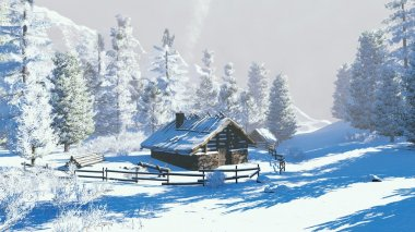 Little hut in a snowy mountains at winter day