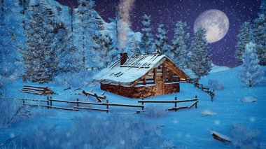 Little cabin in a mountains at snowfall night