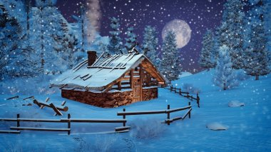 Little hut at snowfall night with full moon