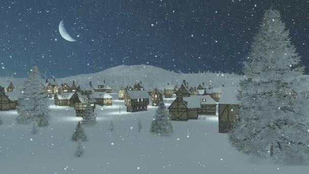 Zasněžené město v noci sněžení se měsíc