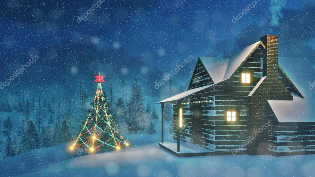 Decorated Christmas tree and cozy house at night