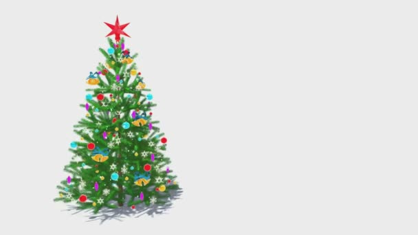 Rotating decorated christmas tree on white background Loop able animation