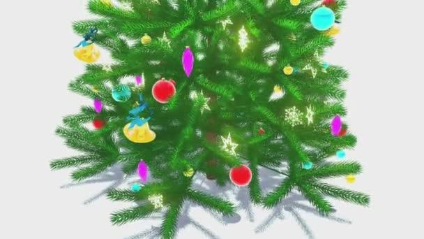 Rotující vyzdobený vánoční strom detail