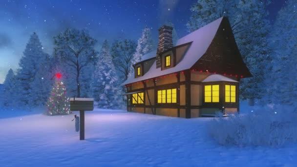 Illuminated cozy rustic house and christmas tree at snowfall night